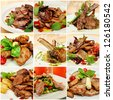 Collage (set) from various kinds of restaurant meat  menu dishes - stock photo