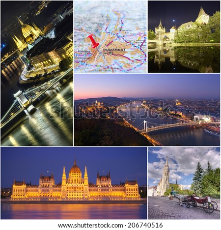collage set of Budapest city images - stock photo