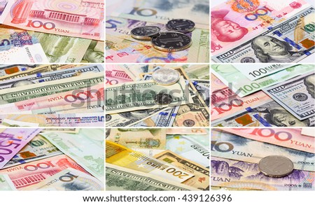 Collage (set) of main word currency Yuan, US Dollar and Euro bank notes concept business background