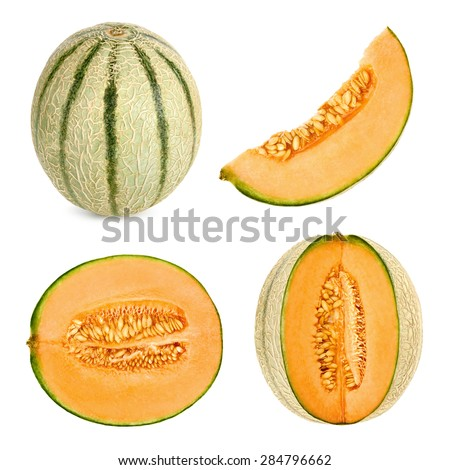 Collage set of 4 studio shots of a Cantaloupe melon, also referred to as honeydew, cut in different shapes, isolated on white background - stock photo