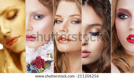 Collage. Set of Women's Faces with Various Colorful Makeup - stock photo