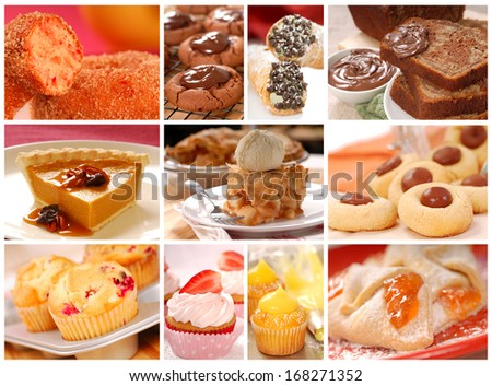 Collage showing a variety of delicious baked goods including cookies, pies, cakes, donuts and muffins - stock photo