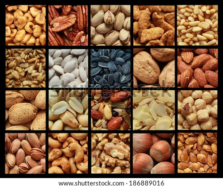 Collage showing different kind of nuts with or without shell - stock photo