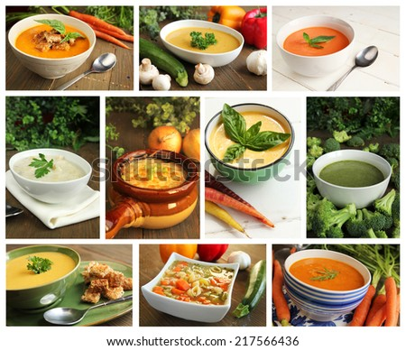Collage showing different kind of soups - stock photo