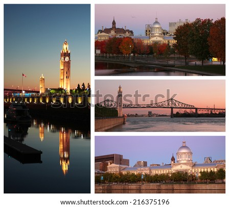 Collage showing different view of Montreal in Canada during sunrise hour - stock photo
