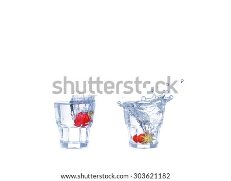 collage  Strawberries, ice cubes into the glass - stock photo