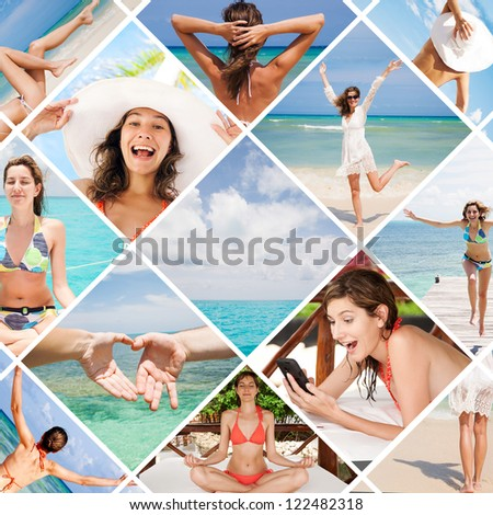Collage summer holiday of happy beautiful woman in Mexico