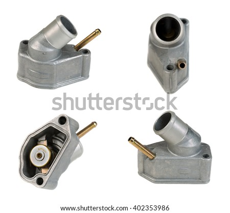 Collage. Thermostat automobile, auto parts. Isolate on white. The image is composed of several photographs. - stock photo