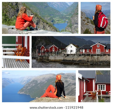 collage -  travel by  norway