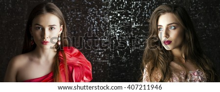 Collage two women. Portrait of Young brunette girls on dark studio wall background - stock photo