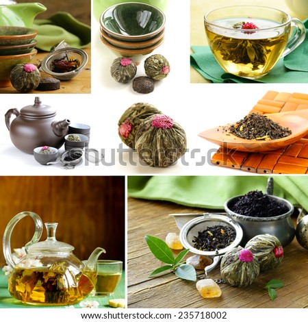 collage useful green and black tea and serving for tea - stock photo