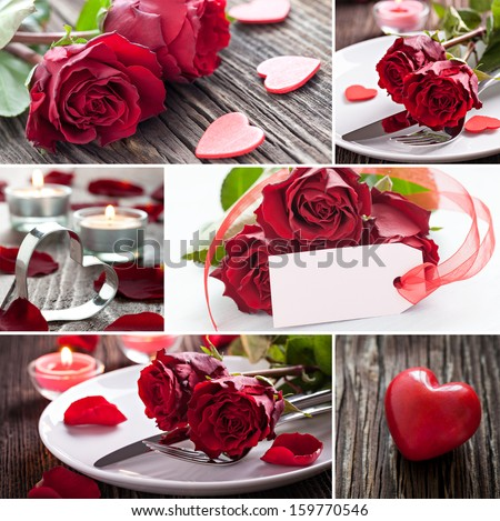 collage valentines day with roses  - stock photo