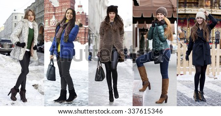 Collage winter fashion. Young beautiful women on a background of a winter street