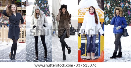 Collage winter fashion. Young beautiful women on a background of a winter street - stock photo