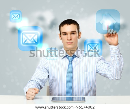 Collage with a business person against technology background - stock photo
