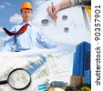 Collage with a business person and construction images - stock photo