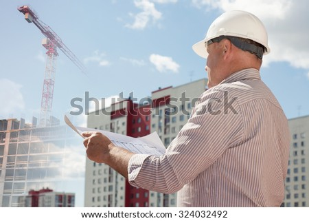 Collage with an engineer and construction cranes and on a background with buildings