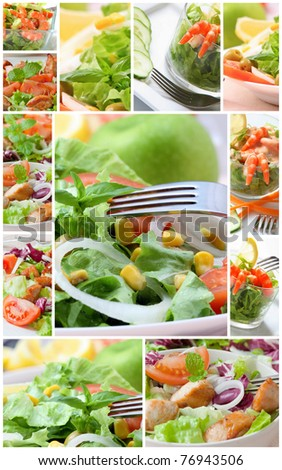collage with assorted green salad on bowl - stock photo