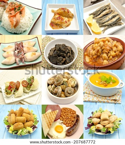 Collage with assortment of cooked