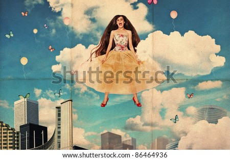 collage with beautiful jumping young woman, dirty texture - stock photo
