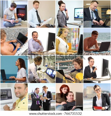 Collage with beautiful women and men working with computers (12 models)