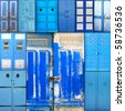 collage with blue-white old doors from tunis - stock photo