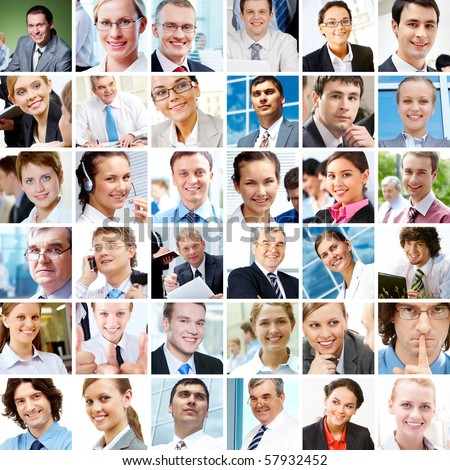 Collage with businesspeople in different situations - stock photo