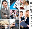 Collage with businesspeople: leader, teamwork, communication and objects - stock photo
