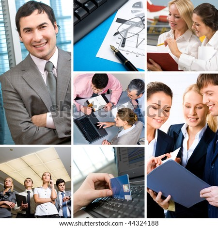 Collage with businesspeople: leader, teamwork, communication and objects