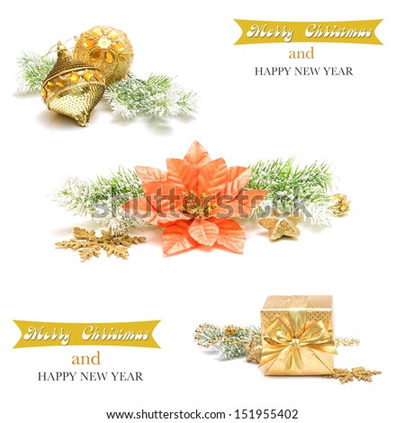 Collage with christmas decoration - stock photo
