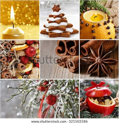 Collage with christmas decorations - stock photo