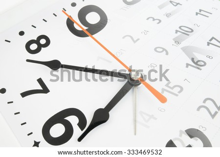 Collage with clock and calendar page - stock photo
