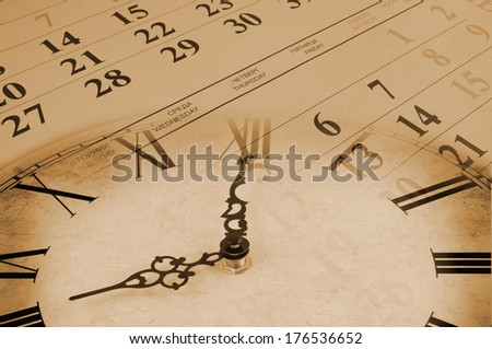 Collage with clock and calendar, time concept                    - stock photo