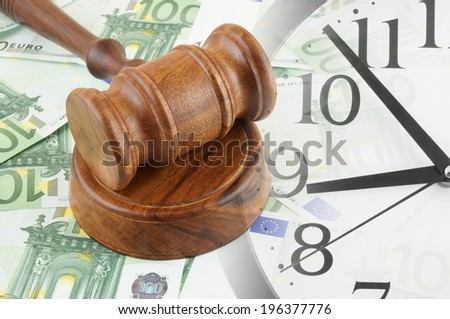 Collage with clock, judge gavel and banknotes, business time concept - stock photo
