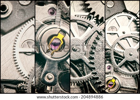 collage with clockwork, gears and cogwheels in vintage style - stock photo