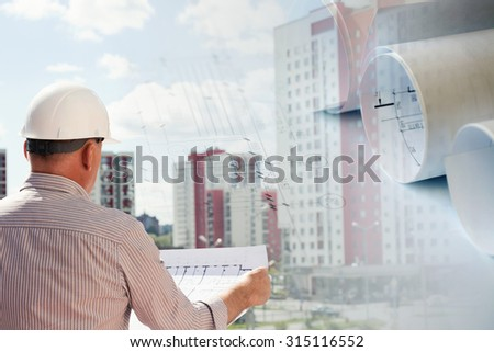 Collage with construction plans and an engineer examining blueprints - stock photo