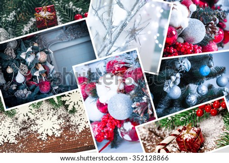 collage with decorated Christmas trees, spices, decor and gifts