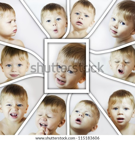 Collage with different facial expressions of little boy - stock photo
