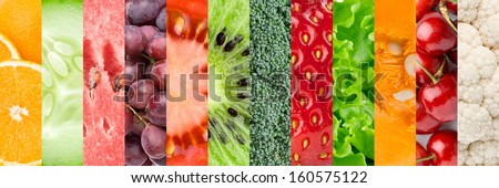 Collage with different fruits, berries and vegetables - stock photo