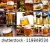 collage with different mugs of beer - stock photo