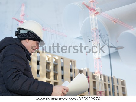Collage with engineer on a construction site with cranes and blueprints - stock photo
