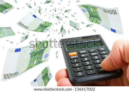 Collage with euro banknotes and calculator in hand on a white background. - stock photo