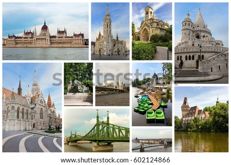Collage With Famous Monuments In Budapest Hungary