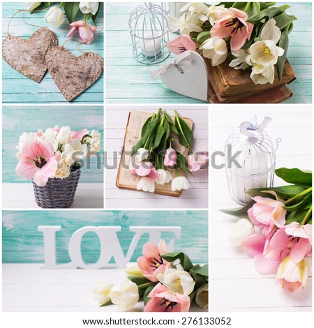 Collage with fresh  spring white and pink  tulips, hearts, candles, old books  on white  and turquoise painted wooden background. Selective focus.