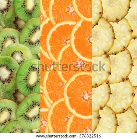 Collage with fruit of pineapple, kiwi and orange slices - stock photo