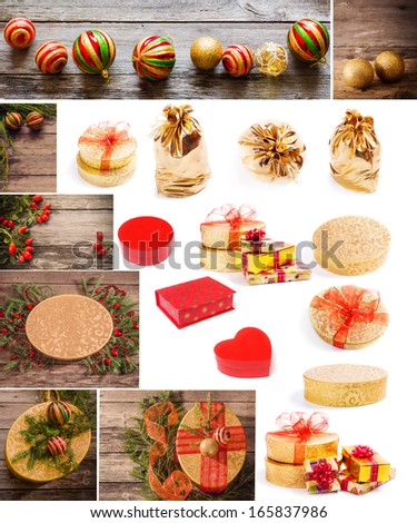 collage with gifts  - stock photo