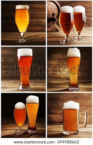 Collage with glasses of beer on table on wooden background - stock photo