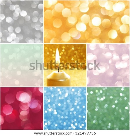Collage with glittering christmas lights. Blurred abstract backgrounds. - stock photo