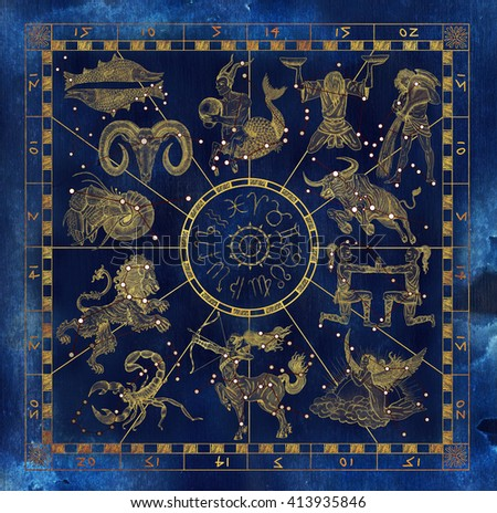 Collage with golden zodiac symbols and sky constellations on blue textured background. Line art with hand drawn horoscope signs in grunge style. Vintage mystic and astrology illustration with texture - stock photo