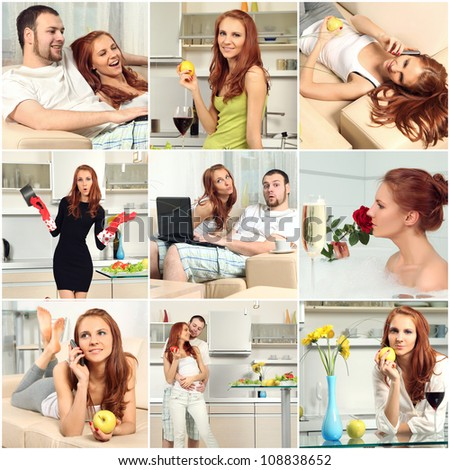 collage with happy people at home - stock photo